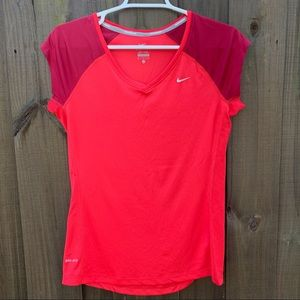 NIKE Miler Running Dri-Fit Red V Neck Shirt Small